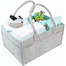 Ooki Baby Large Diaper Caddy - Minimalist Nursery Tote Bag | Foldable Changing Table Storage Organizer for Multiple Baby Supplies | Portable Car Seat Travel Basket with Removable Organizer Inserts