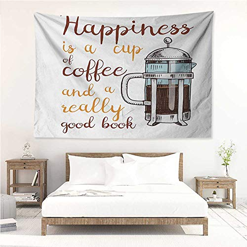 (alisos Coffee,Tapestries French Press with Hot Aromatic Beverage and Hand Written Style Inspirational Quote 93W x 70L Inch Print for Living Room Bedroom Dorm)