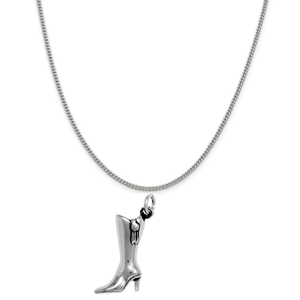 Raposa Elegance Sterling Silver 3D High Heeled Boots Charm on a 20'' Curb Chain Necklace