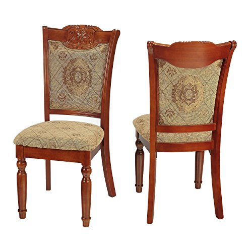 Cortesi Home Rosetta Queen Anne Dining Chair in Taupe with Gold (Set of 2)
