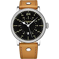 Analog Quartz Stainless Steel Watch by Stuhrling Original with tan Leather Watch Band. Black Dial. Military Aviator 24-Hour Layout. Special Edition Gift Watches for Men. Domed Crystal and Coin Bezel.