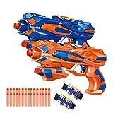 Fstop Labs 2 Pack Foam Hand Gun Toy Blaster Gun with 2 Foam Dart Wrist Band and 30 PCS Refill Soft Foam EVA Darts