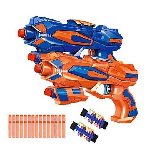 Fstop Labs 2 Pack Foam Hand Gun Toy Blaster Gun Compatible with Nerf Guns with 2 Foam Dart Wrist Band and 30 PCS Refill Soft Foam EVA Darts