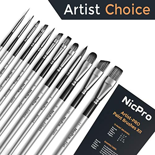 Nicpro 12 PCS Acrylic Paint Brushes Adult Art Paint Brush Set for Watercolor Oil Gouache Face Body Craft Miniatures Painting,Paintbrushes by Nicpro