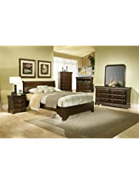 alpine furniture 4 piece chesapeake sleigh bed set queen cappuccino