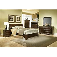 Alpine Furniture 4 Piece Chesapeake Sleigh Bed Set, Full, Cappuccino