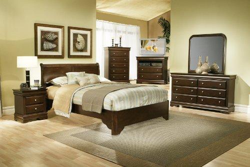 Alpine Furniture 4 Piece Chesapeake Sleigh Bed Set, Queen...