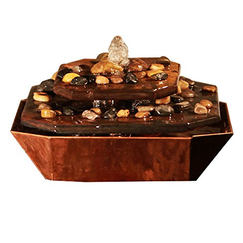 Slate Copper Fountain (Sunnydaze Copper & Slate Rock Tiered Tabletop Fountain)