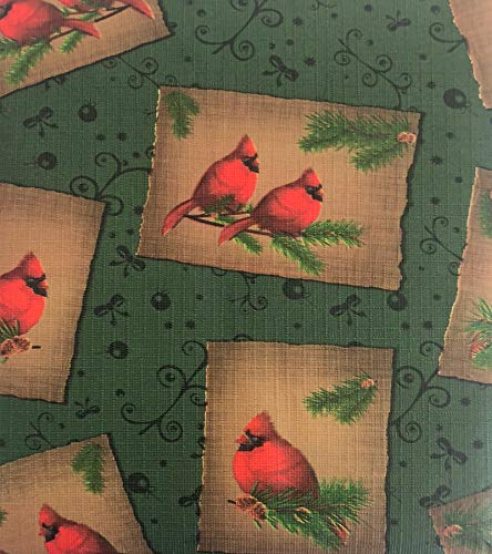 Lintex Winter Cardinal Pinecone PEVA Non Toxic, Non PVC Vinyl Rustic Christmas Tablecloth - PEVA Flannel Backed Cottage Style Tablecloth, 70 Inch Round ()