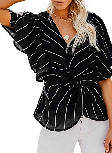 Formal Top and Blouses for Women, Misyula Short Bell Sleeve Shirts for Women V Neck Chiffon Pleated Tunic Knot Front Tees Dressy Career Adorable Stripes Elastic Waist Girl Tropical Beach Black XL