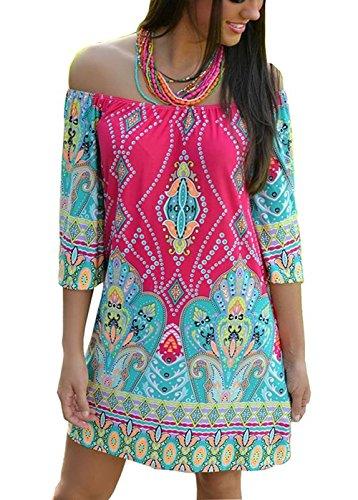 Choies Women's Off Shoulder Geo Paisly Print Flare Sleeve Shift Mini Beach Dress XXL - Mini Paisley Pattern