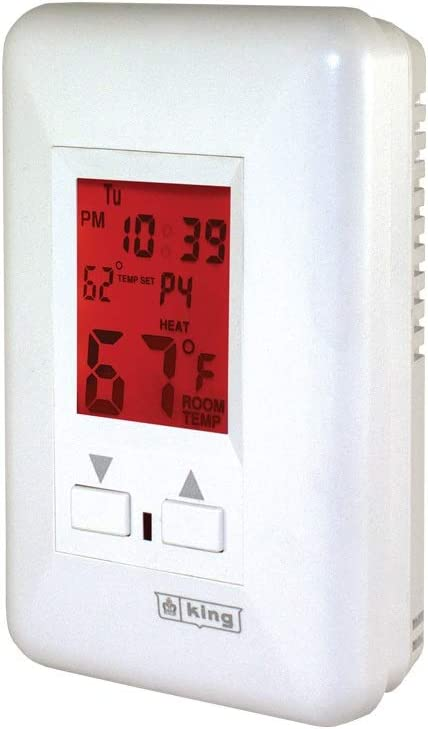 KING ESP230-R MAX22 7-Day Programmable Electronic Line Voltage Thermostat, 3-Wire, 208/240V, 22A, 240-Volt, White