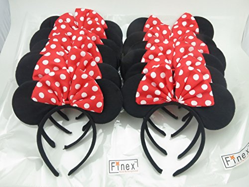 Finex Set of 12 Mickey Minnie Mouse Costume Deluxe Fabric Ears HeadbandSet of 12 (Minnie) (Holloween Party Food)