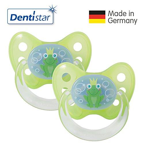 2x Dentistar® Latex-Schnuller - Nuckel-Motiv: Frosch Farbe: grün Größe: 1 - Beruhigungs-Sauger für Junge & Mädchen von 0-6 Monaten als Geschenk zur Geburt - zahnfreundlich, BPA-frei, Greif-Ring (2er-Set)