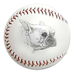 English Bulldog Sketch - Pelotas de béisbol de béisbol para entrenamiento (goma suave, reductora), color blanco