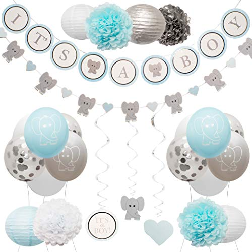Hanging Decorations For Baby Shower (Elephant Baby Shower Decorations for Boy by Baby Nest Designs - Blue Baby Shower Backdrop with Balloons, Its a Boy Banner, Paper Hanging Decorations and More Party Decor/Gender Reveal)