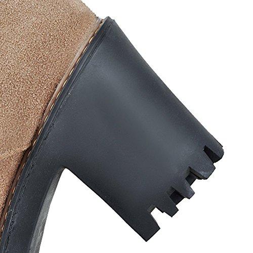 VogueZone009 Damen Rein Nubukleder Hoher Absatz Rund Zehe Reißverschluss Stiefel Aprikosen Farbe