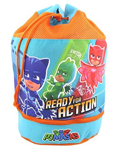 - PJ Masks Boy's Beach Drawstring Cinch Backpack Tote Bag (Blue/Orange)