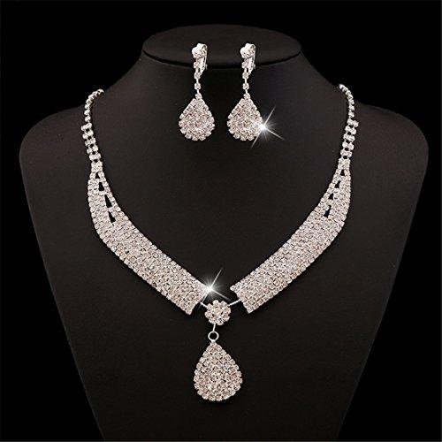 FANCY LOVE Crystal Rhinestone Bridal Necklace Earrings Jewelry Sets by FANCY LOVE JEWELRY (Image #4)