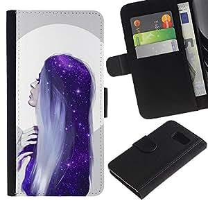 For Samsung Galaxy S6 Case , Moon Woman Blue Hair Stars - la tarjeta de Crédito Slots PU Funda de cuero Monedero caso cubierta de piel