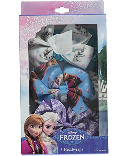 [Disney Frozen Olaf Anna Elsa Girls Toddler Headwraps Set 3PK White Blue Purple] (Anna Costume Ideas)