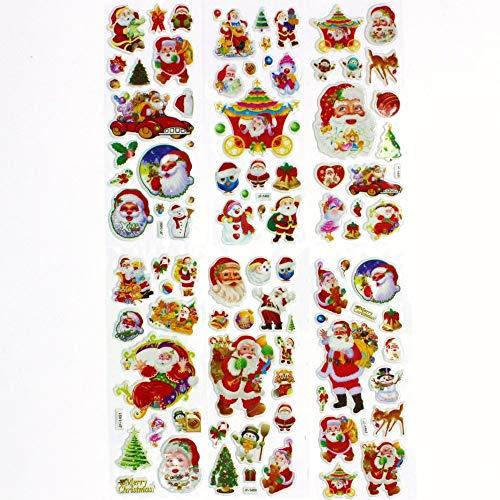(6 Sheets/Set Small Christmas Gift Santa Bubble Stickers Send Kids as a Christmas Present Christmas Decoration)