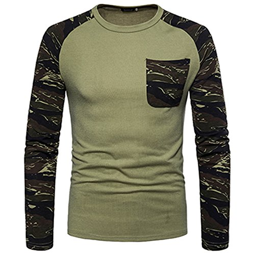 Green Capilene Shirt (GUANGXINNI Long Sleeved Men Camouflage Color Slim Pocket Decoration O-Neck T-Shirt)