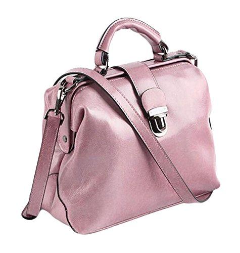 Docteur En Messenger Bag Cuir Cuir pink Cire à De Rétro Sac épaule Sacs Boucle Paquet Main Main à Pétrole En nYYPwUTq