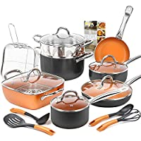 Deals on SHINEURI 19-Piece Copper Nonstick Cookware Set