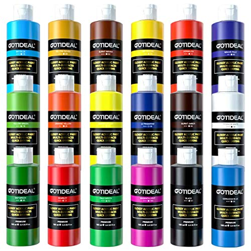 GOTIDEAL Acrylic Paint Set, 18 Colors/Tubes(100ml, 3.4 oz) Non Toxic Non Fading,Rich Pigments for Artist, Hobby Painters…