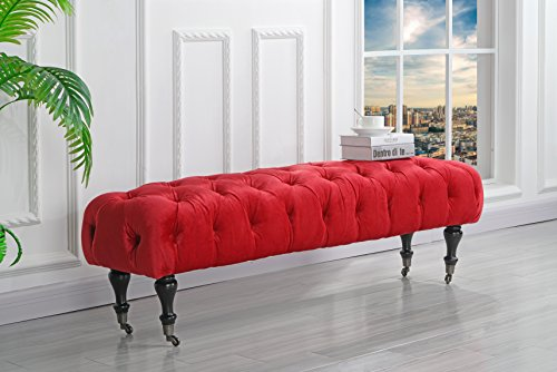 Classic Tufted Velvet Bedroom Vanity Bench with Casters (Red)