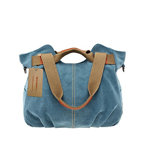 Women's Canvas Tote Bags, WITERY Casual Vintage Canvas Tote Bag Top Handle Bags Shoulder Bag Handbags Shopping Bag for Women Blue