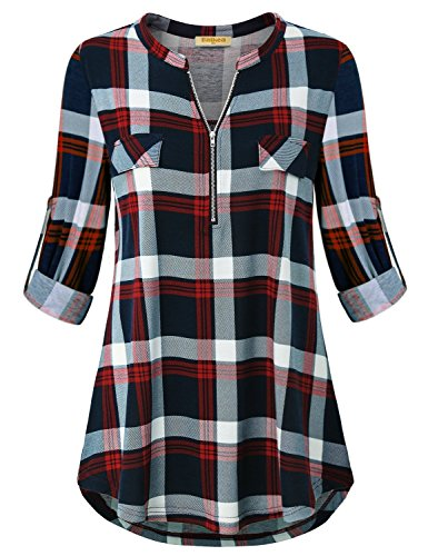 Baikea Split v Neck Tunic Tops for Women, Ladies Oversized Plaid Shirts Cuffed Sleeve Blouse Maternity Shirt A Line Baggy Bottom Soft Comfy Stretchy Pullover Styling with Zipper Red XXL
