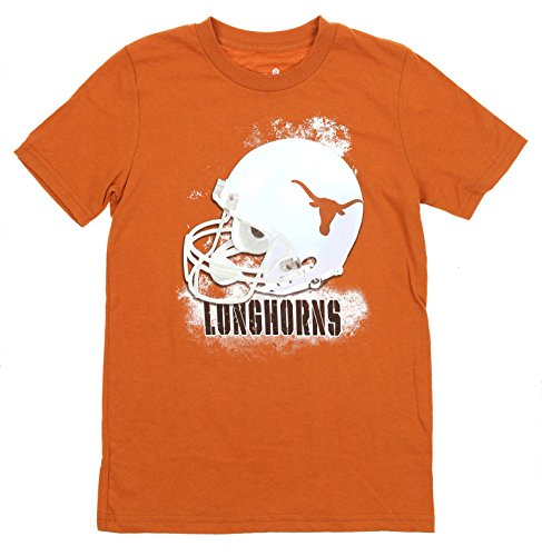 Ncaa Youth Football Helmet - NCAA Texas Longhorns Youth (8-20) Helmet Short Sleeve T-Shirt, Burnt Orange