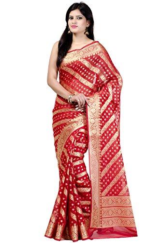(Chandrakala Women's Red Cotton Silk Blend Banarasi Saree,Free Size(1168RED))