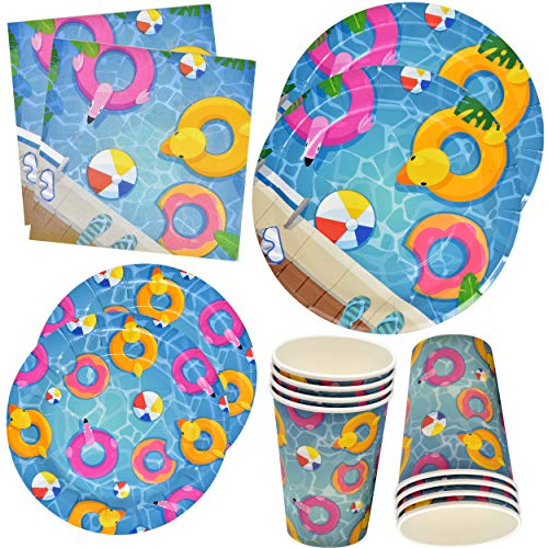 (Pool Beach Summer Party Supplies Set Includes 24 9