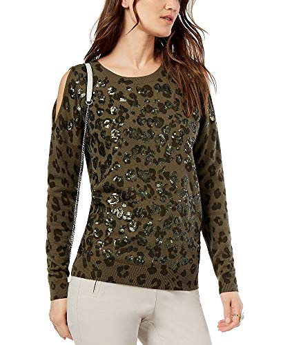 INC Womens Wool Blend Sequin Embellished Sweater Green M