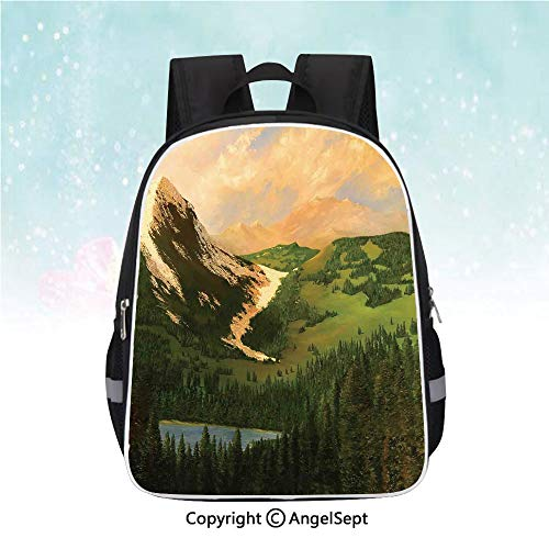 Travel Backpack,Rural Scenery in the Valley with Cloudy Sky on Northern Lands Lake Mod Nature Painting,13