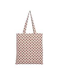 Caixia Women's Cotton Strawberry Print Canvas Tote Shopping Bag Light Brown