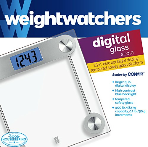 Weight Watchers by Conair Digital Glass Bathroom Scale; 400 lb. capacity; Elegant Gold Finish Bath Scale by Conair (Image #3)
