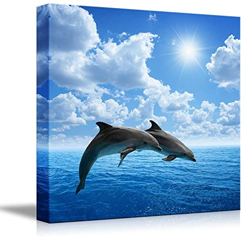 Canvas Prints Wall Art - Two Dolphins Jumping on The Clear Blue Sea/Ocean | Modern Wall Decor/Home Decor Stretched Gallery Canvas Wraps Giclee Print & Ready to Hang - 16