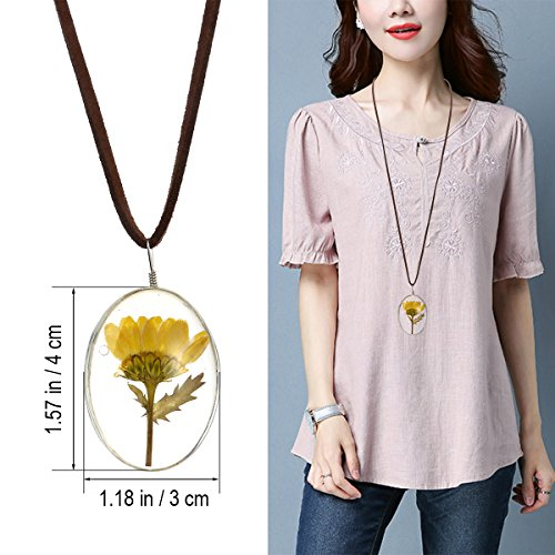 Tinksky Dual Side Dried Sunflower Necklace Oval Pendant Flower Pressed Necklace, gift for Women ()