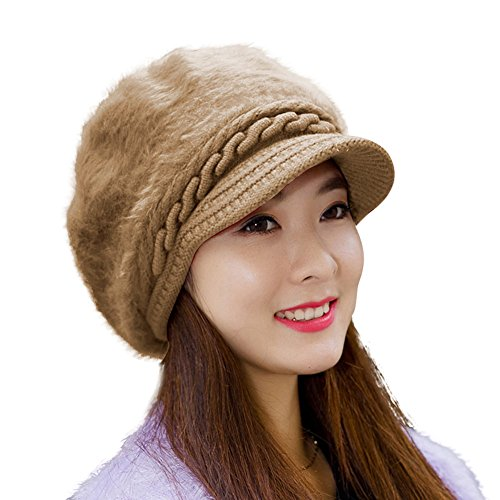 HINDAWI Winter Hats for Women Outdoor Warm Knit Snow Ski Crochet Skull Cap with Visor (Y-Khaki)