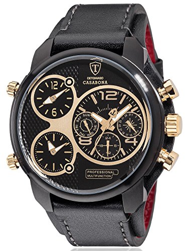 DETOMASO Casabona XXL Multifunctional Men's Wrist Watch with 3 time zones Stainless Steel Casing Leather Strap (Gold / Black)