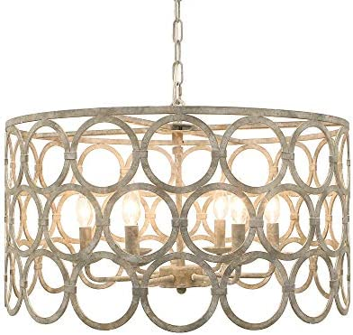 Hope Gray Transitional Drum Chandelier, 24 Round