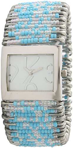(Safety Pins Watch with Beads and Rectangle Face White Dial (Turquoise & Clear))