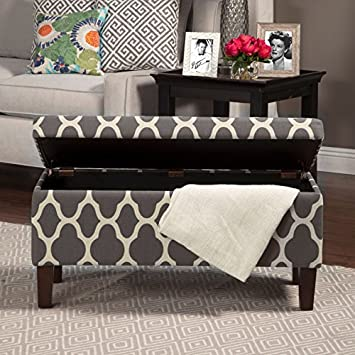 HomePop Large Upholstered Rectangular Storage Ottoman Bench with Hinged Lid, Grey Geometric
