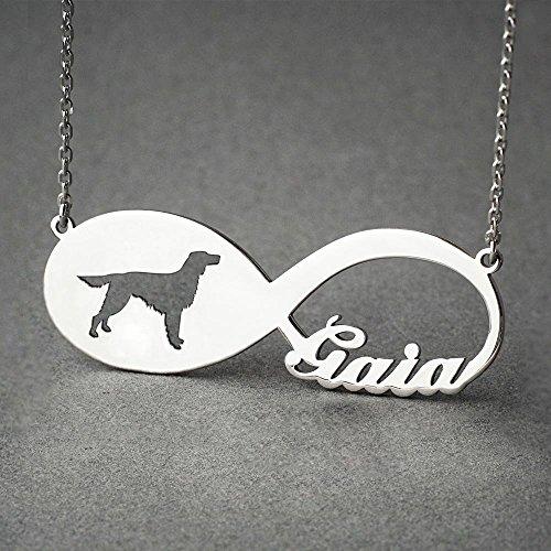 Personalised Irish Setter Infinity Necklace - Setter Infinity Name Jewellery - Dog Jewelry - Dog breed Necklace - Dog ()