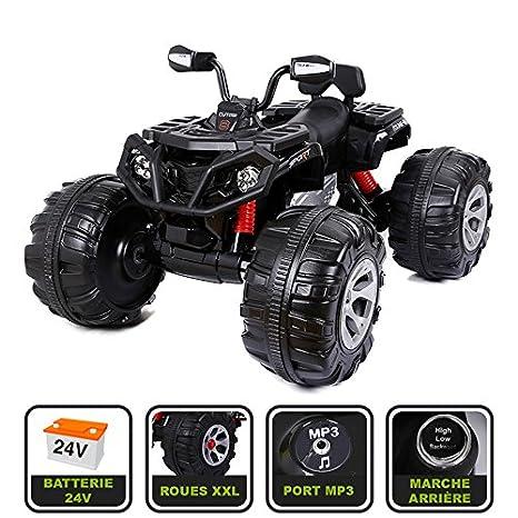 Cristom ® Monster Quad eléctrico 24 V para niños conexión MP3 – MODELE XXL (negro
