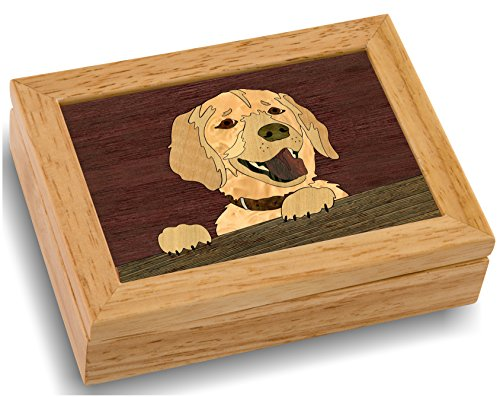 MarqArt Wood Art Dog Box - Handmade in USA - Unmatched Quality - Unique, No Two are the Same - Original Work of Wood Art (#4146 Happy Dog 4x5x1.5) ()